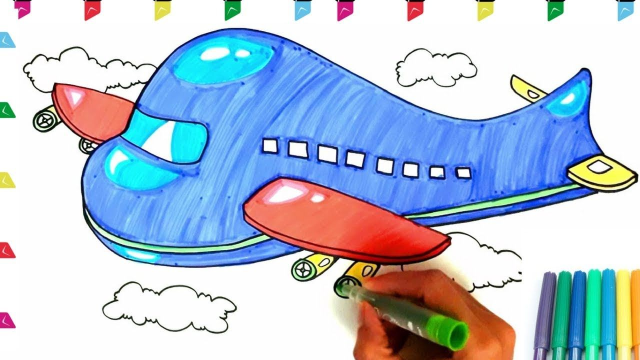 cartoon airplane drawing for kids
