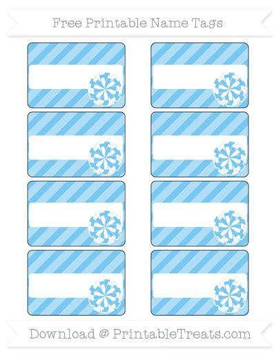Free Pastel Light Blue Diagonal Striped  Cheer Pom Pom Name Tags