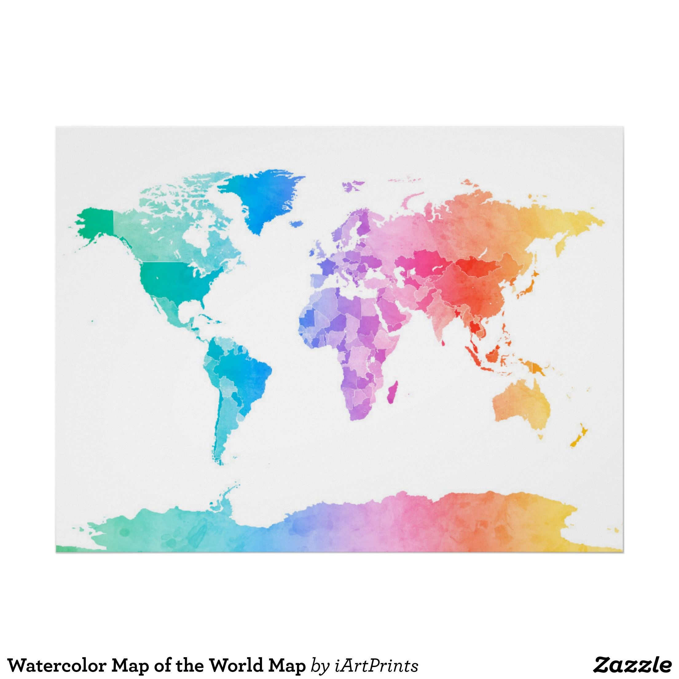 Watercolor Map of the World Map Poster suluboya