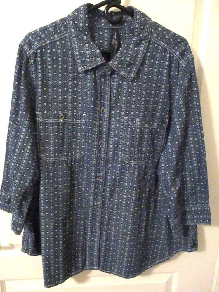 ff8e65c2f479e Seven Luxe size 22/24 blue mixed print floral shirt 3/4 sleeves button  front #fashion #clothing #shoes #accessories #womensclothing #tops (ebay  link)
