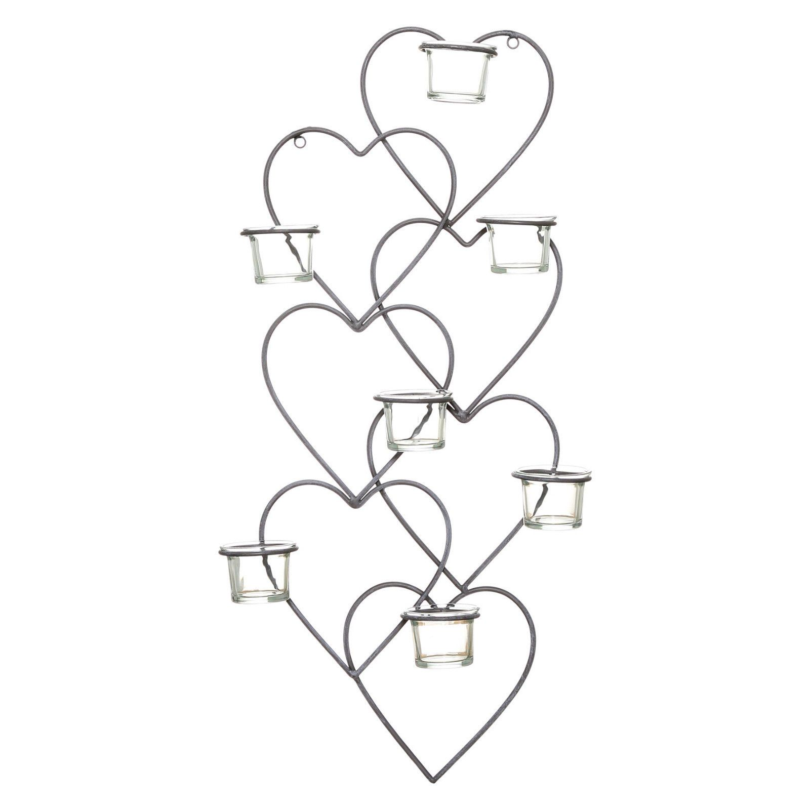 Cm vintage metal u glass love heart tea light wall art sconce