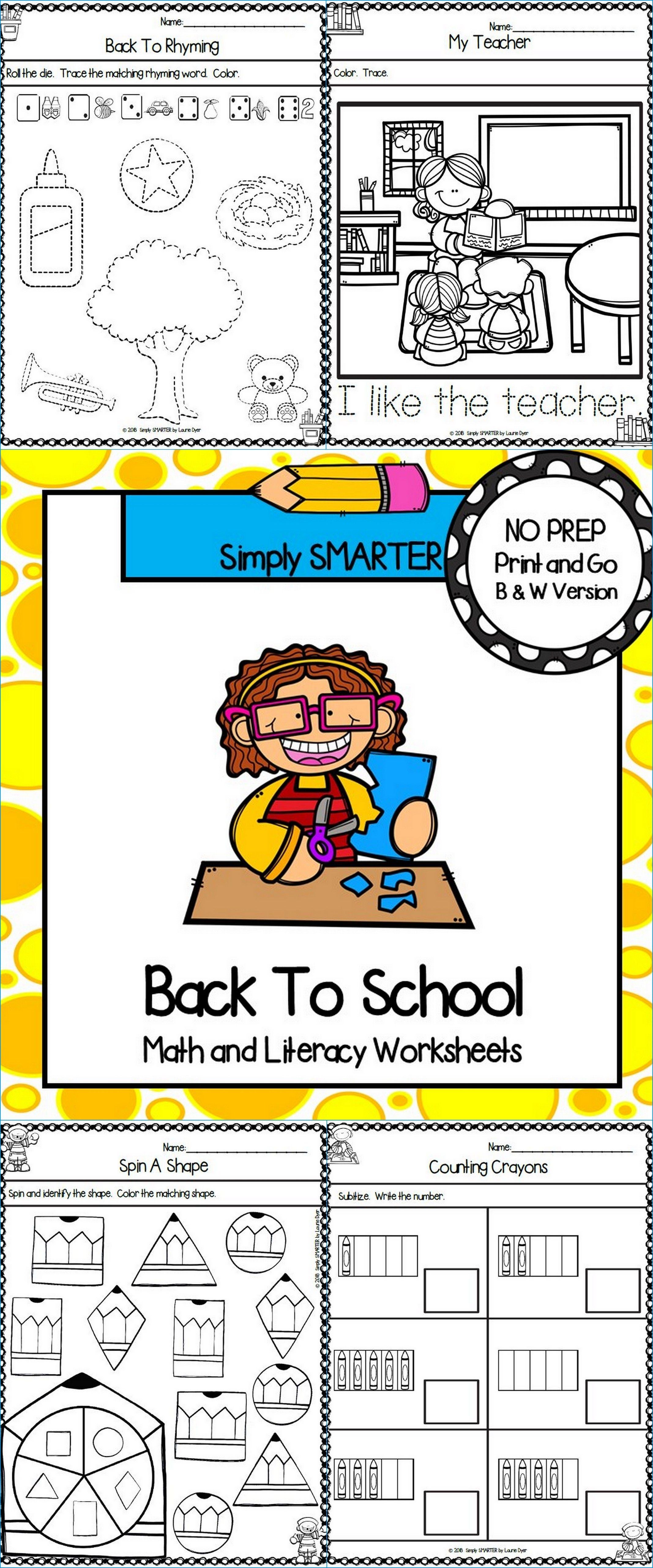 Back To School Themed Kindergarten Math and Literacy Worksheets and ...