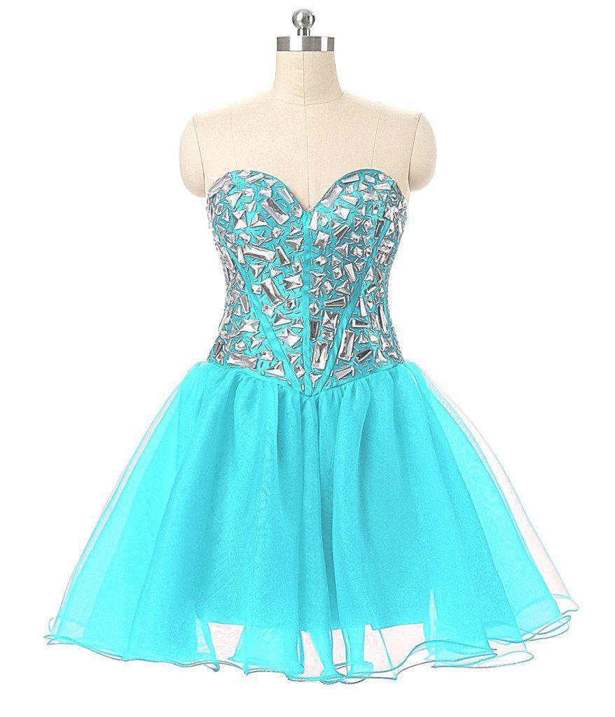 Vantexi womenus sweetheart crystal short prom homecoming dress