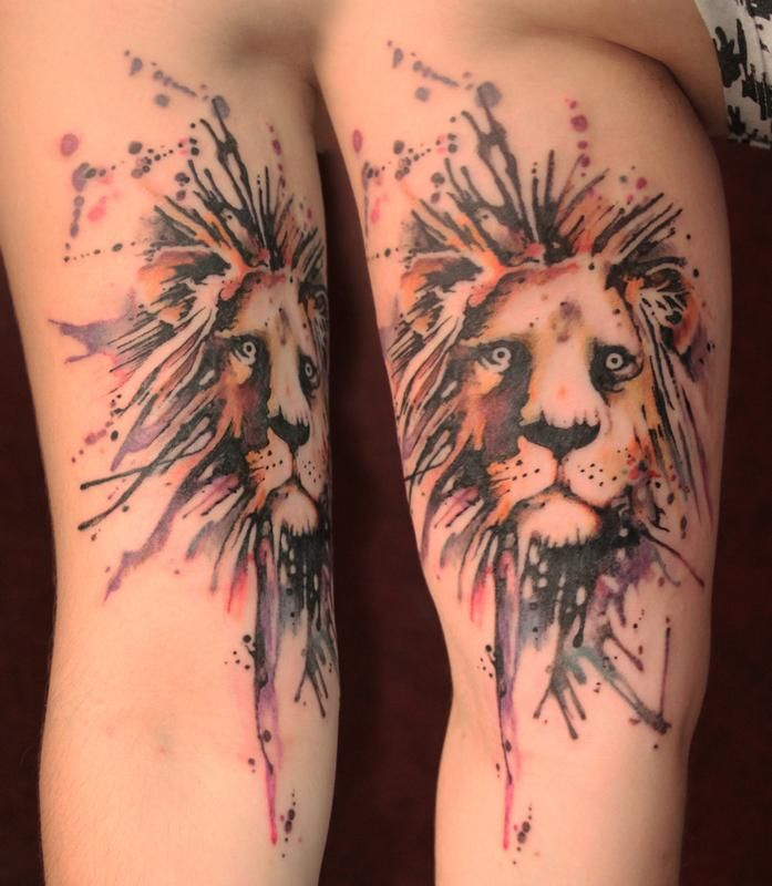 watercolor lion tattoo tattoos pinterest. Black Bedroom Furniture Sets. Home Design Ideas