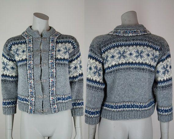 Vintage 70s Nordic Sweater / 1970s Gray Knit Wool Fair Isle ...