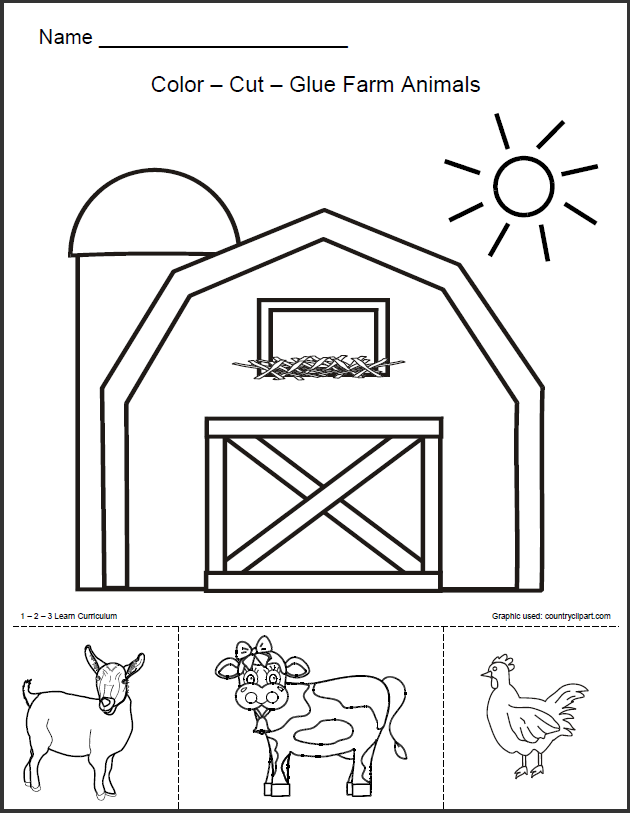 1 - 2 - 3 Learn Curriculum: Barn Animals Worksheet-free | SPRINGTIME ...
