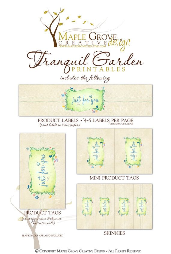 Tranquil Garden Printable Tags for Crochet Knit by MapleGroveCreative
