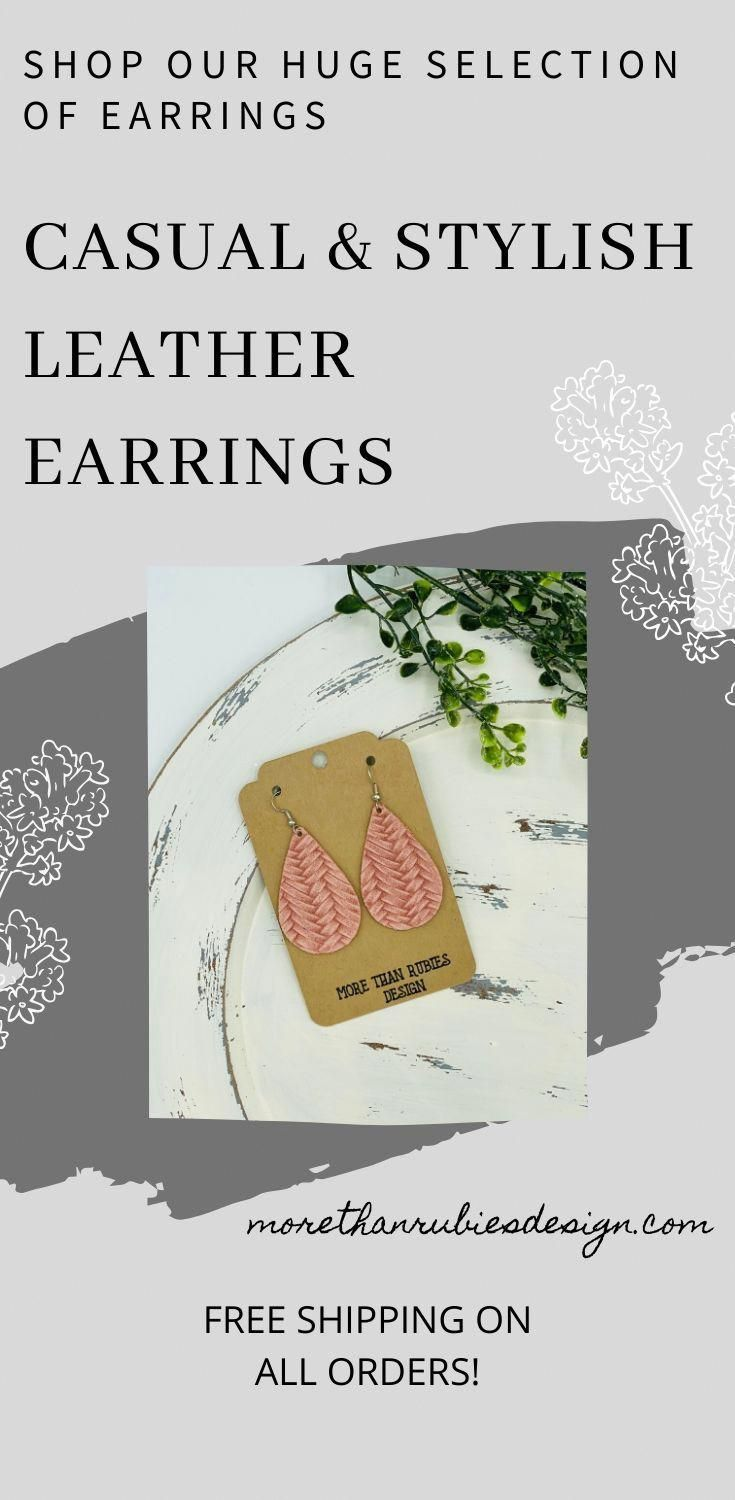 Wow, what a cute pair of leather earrings to wear to complete your outfit! Our stylish earrings are made of high-quality leather. The post is hyper-allergic and nickel free. Size: Approximately 2.25 tall X 1.25 wide. #leatherearrings #leatherjewelry #leather #morethanrubiesdesign #robinholmes #casualearrings
