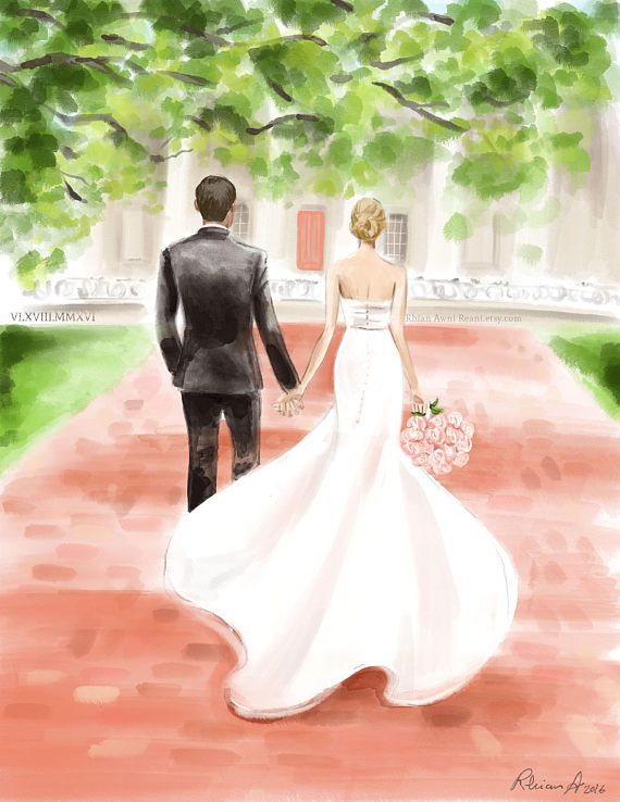 Custom Wedding Portrait Bridal Illustration Bride Groom