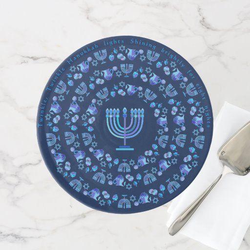 Happy Hanukkah Party Beautiful Navy Blue Mandala Cake Stand