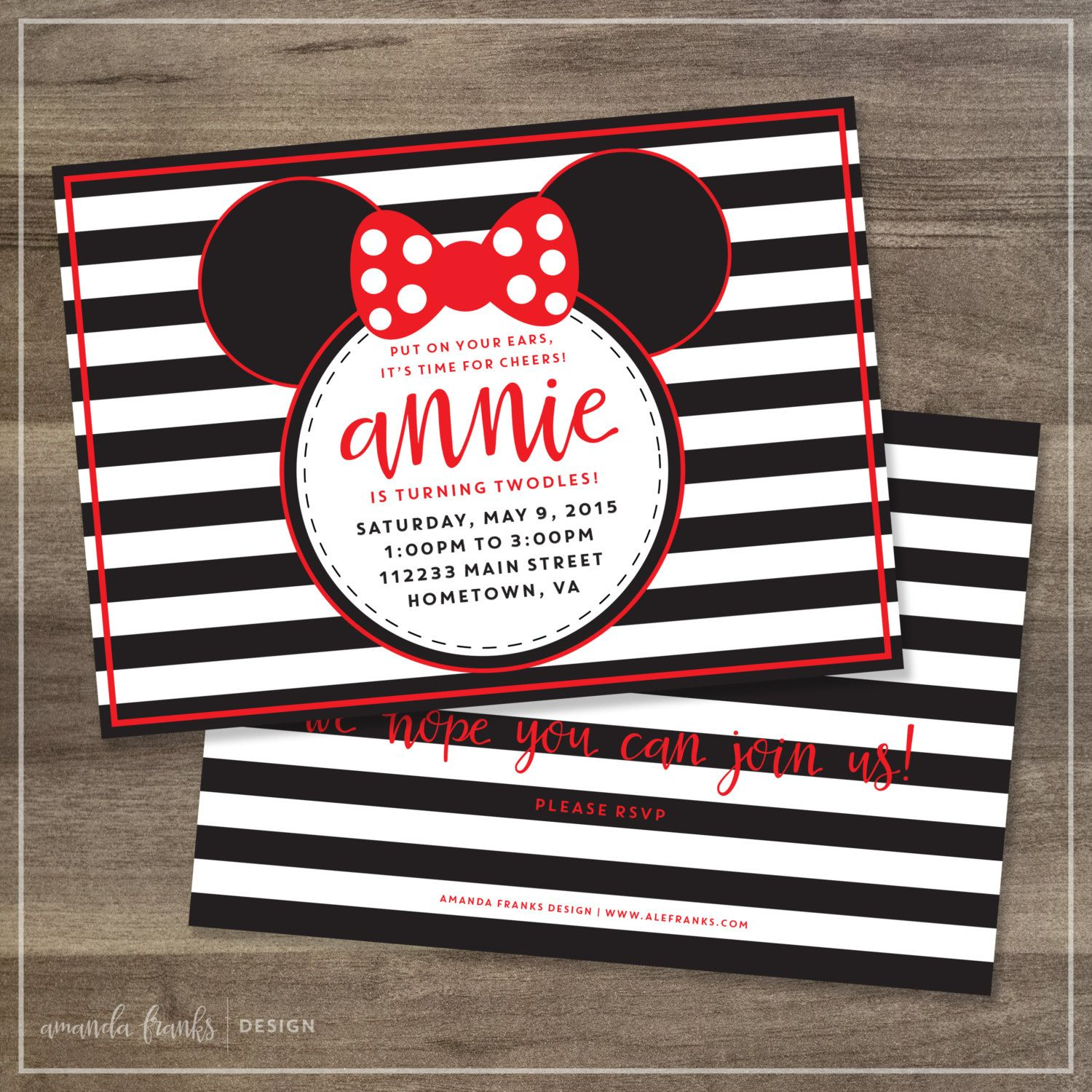 Red Minnie Mouse Birthday Party Invitation | Digital File ...