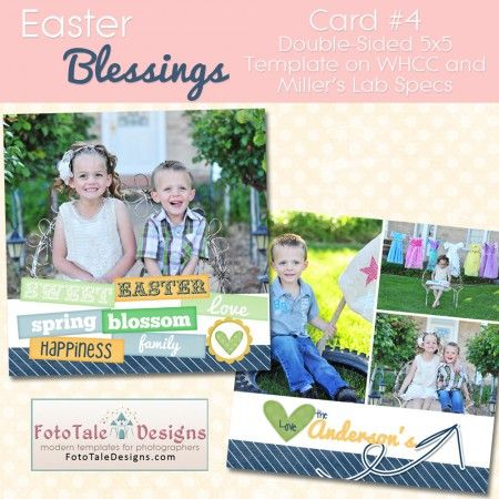 Easter Blessings Card #4 by FotoTale Designs #custom #spring #Easter 5x5 Card - Photohop .psd files for #photographers and designers.  Easy to edit and customize.