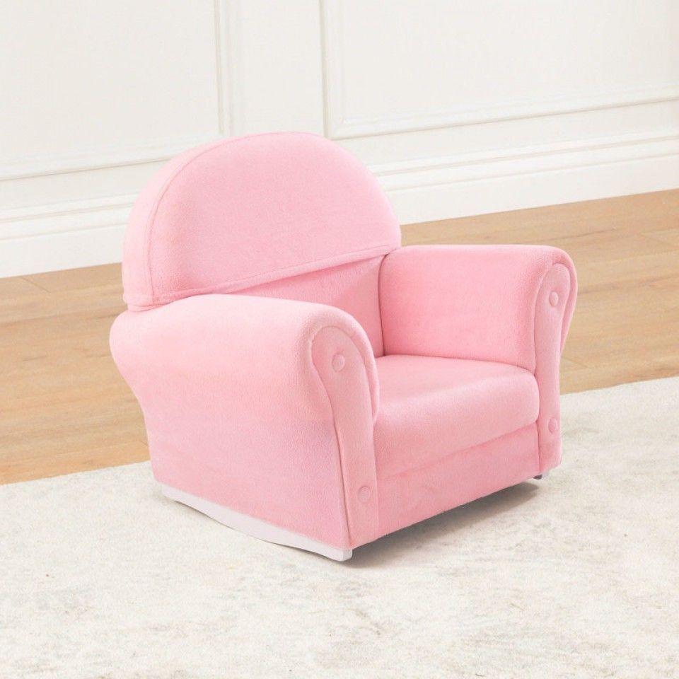 Kidkraft 18611 Kids Pink Velour Rocker Upholstered Rocking Chair W Slip Cover