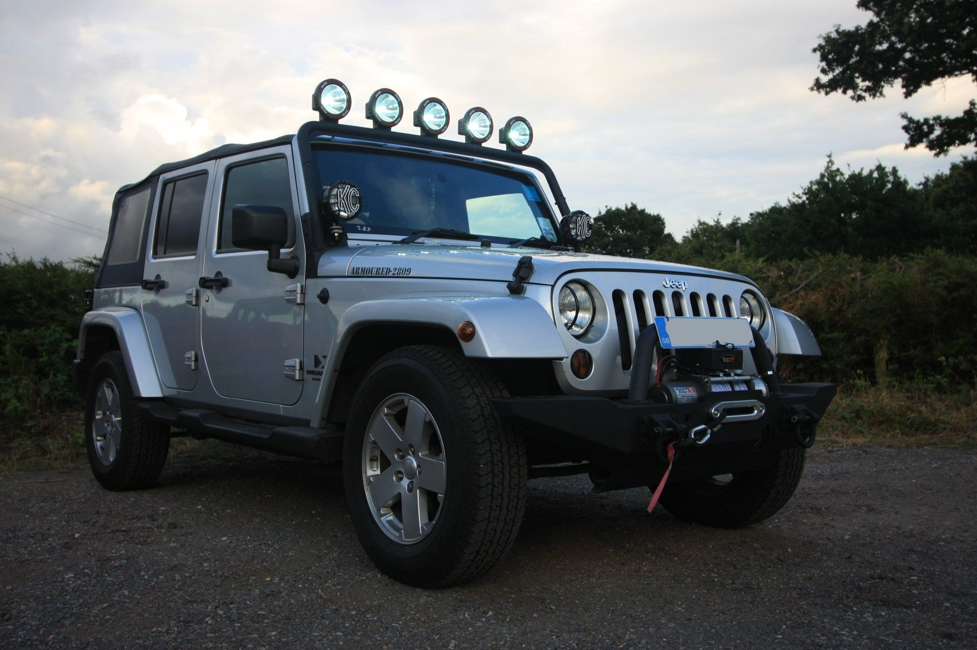 JK Sporting Rugged Ridge Front Bumper U0026 Winch And Light Bar Fitted With Hid  Lights.