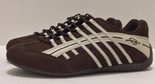 12.59$  Buy now - http://vimem.justgood.pw/vig/item.php?t=a0vtek410272 - FUBU Athletic Running Shoes Brown Suede with White Accents Size 6.5 Flat