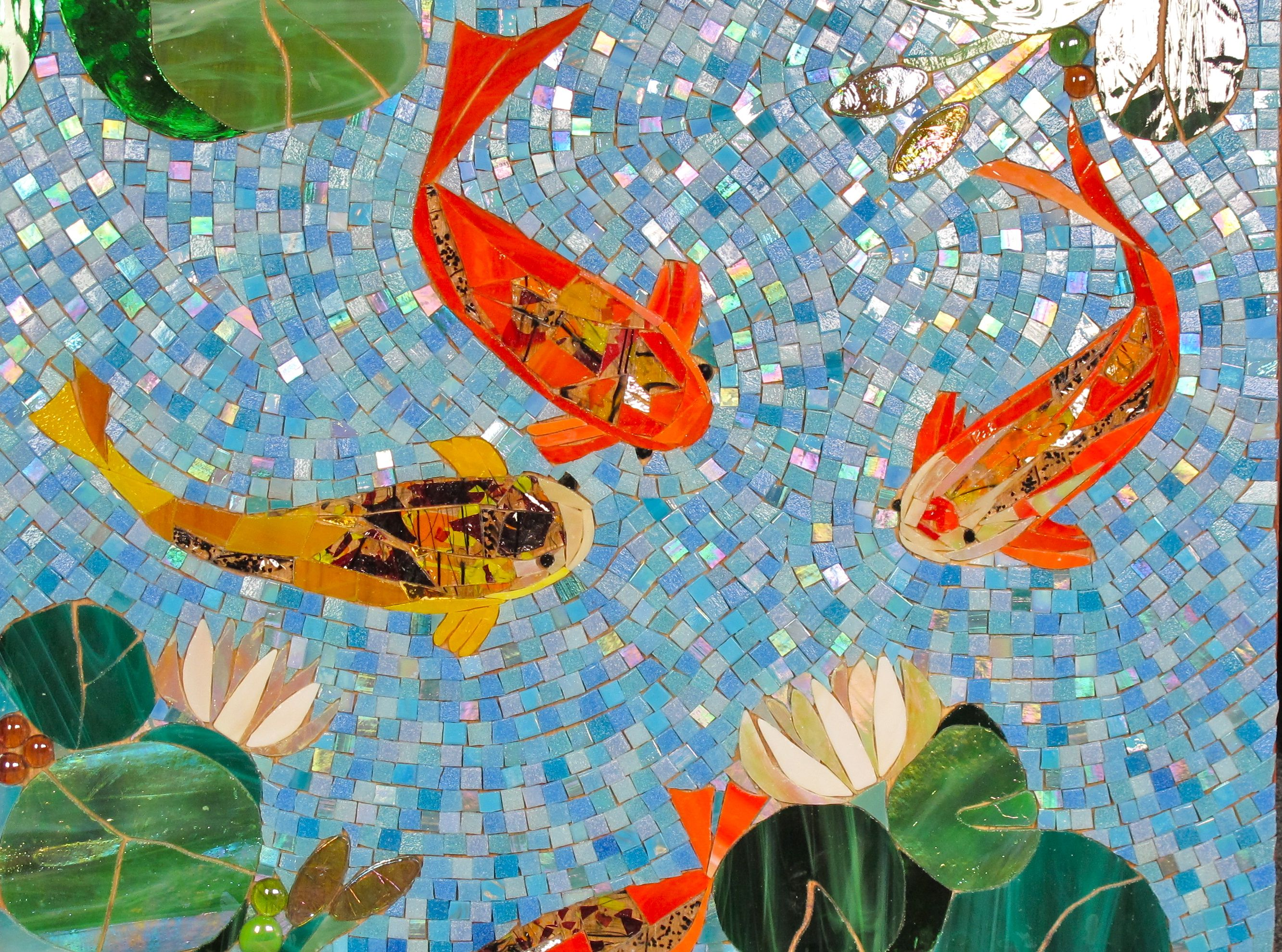 Jewels in the water koi jewel and mosaics for Mosaic garden art designs