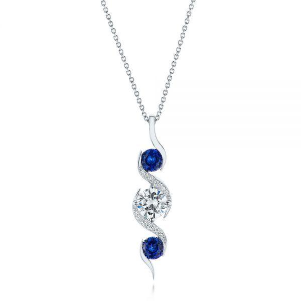 Custom blue sapphire and diamond pendant diamond pendant custom blue sapphire and diamond pendant mozeypictures Choice Image