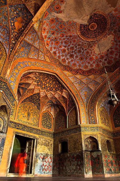The colourful interior of the Tomb of Akbar the Great, an ...