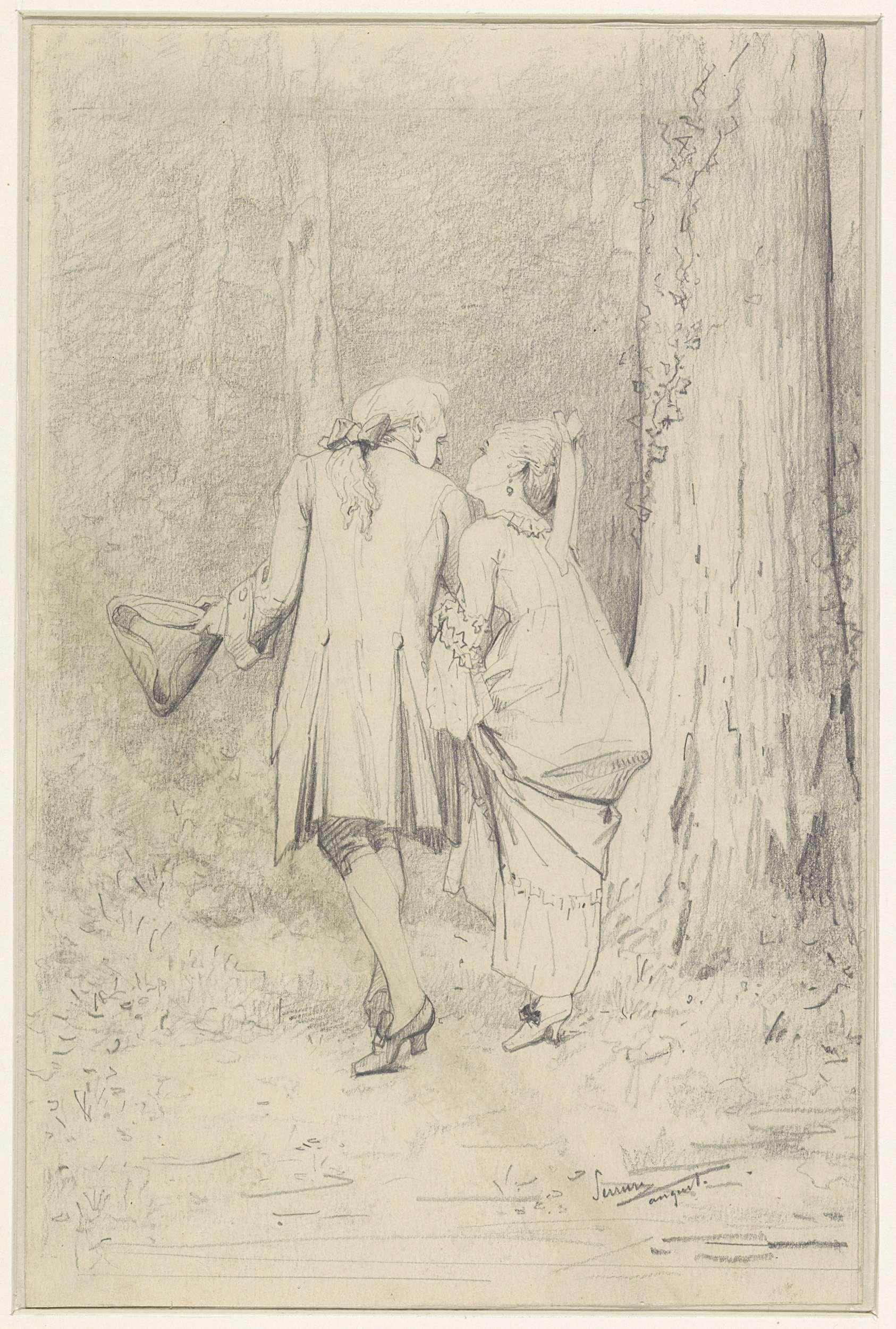 Küchendesign-logo wandelend paar in bos  auguste serrure      rijksmuseum
