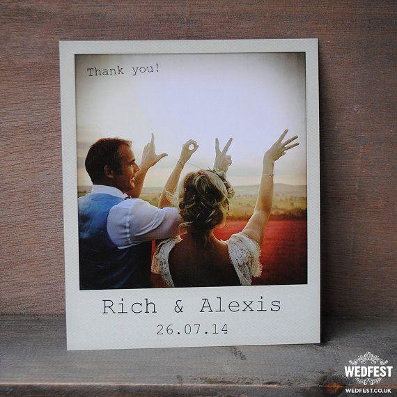 Instant film photo wedding thank you cards - Polaroid karten ...