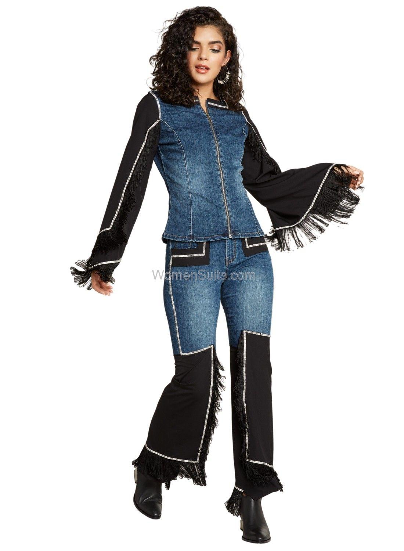Fringed Denim Womens Jacket Tesoro Moda