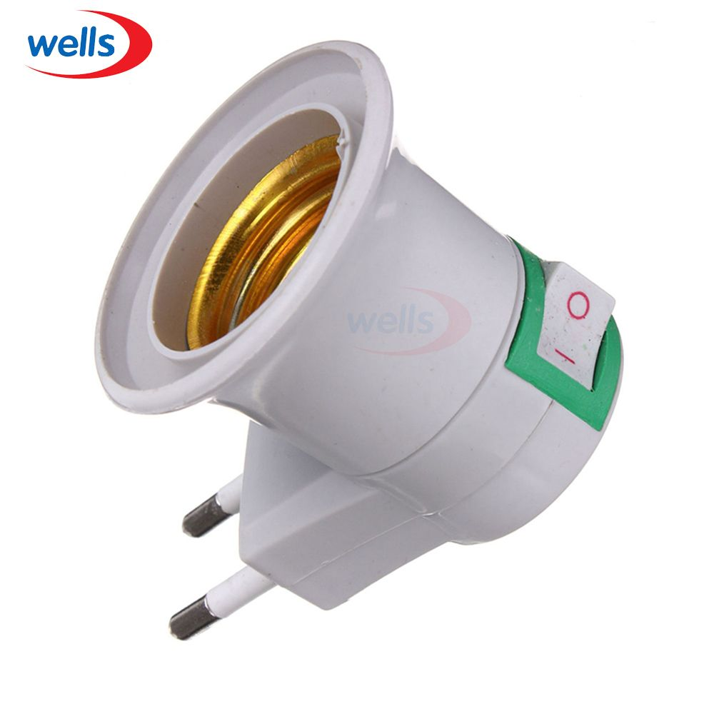 Led Newest 1pcs E27 Eu Type Plug Adapter Led Light Male Socket Converter With On Off Button Holder Use For Bulb Lamp Lamp Bulb Led Lights Lamp Bases
