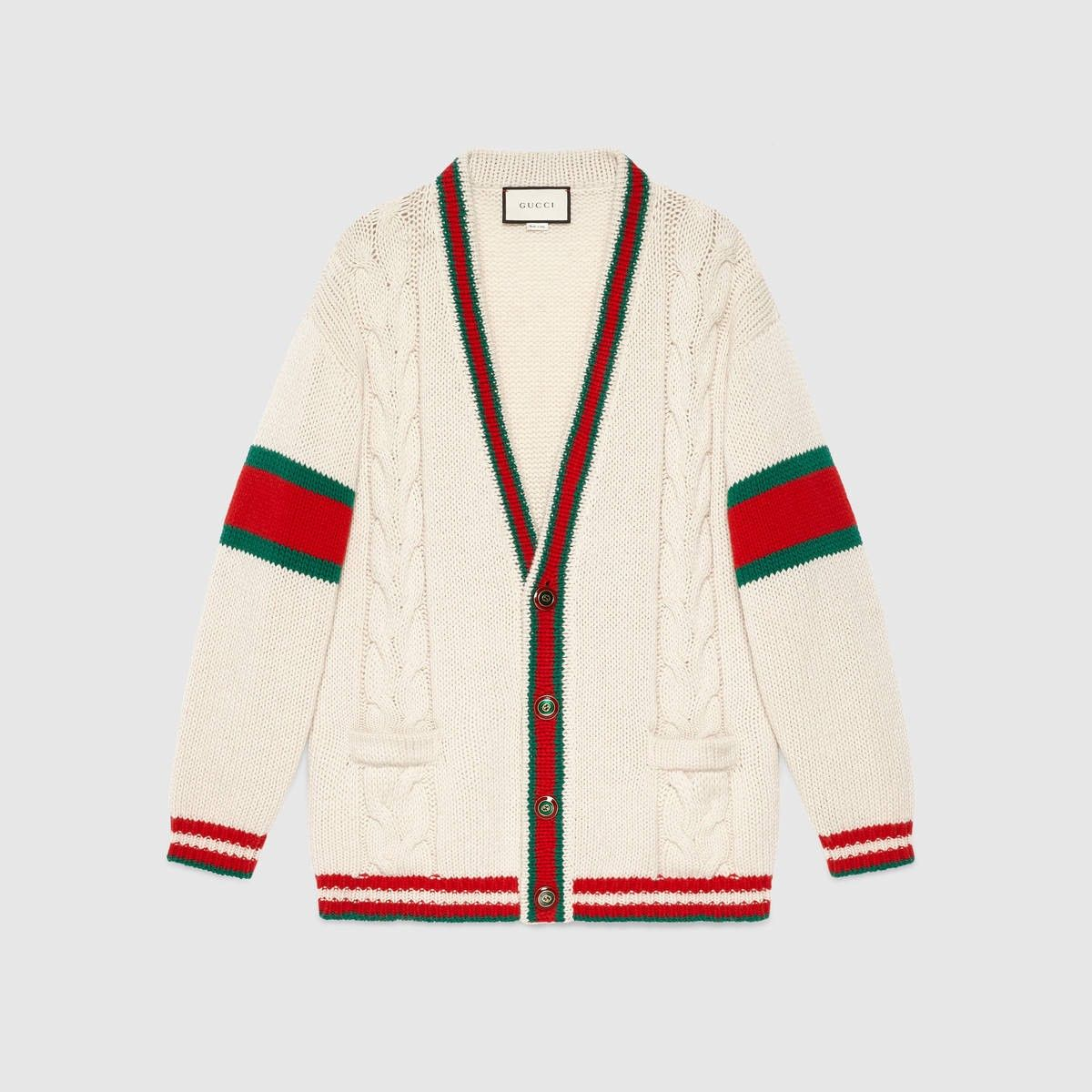 38cd3e1c39 GUCCI Web cable knit wool cardigan - off-white cable knit.  gucci  cloth