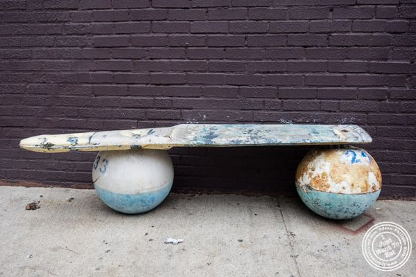 Bench at Off The Hook, Raw Bar and Grill in Astoria, Queens