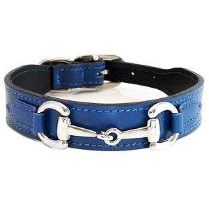 Gucci Poochie Italian Leather Dog Collar - Cobalt Blue