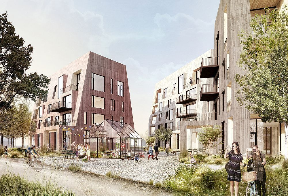 """""""Örnsro Trästad"""" (Örnsro Timber Town) residential quarter in central Örebro by C.F. Møller Architects and C.F. Møller Landscape in cooperation with Slättö Förvaltning."""