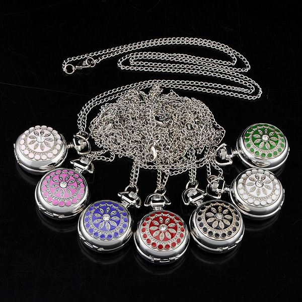 Silver Classic Crystal Quartz Pocket Watch Necklace