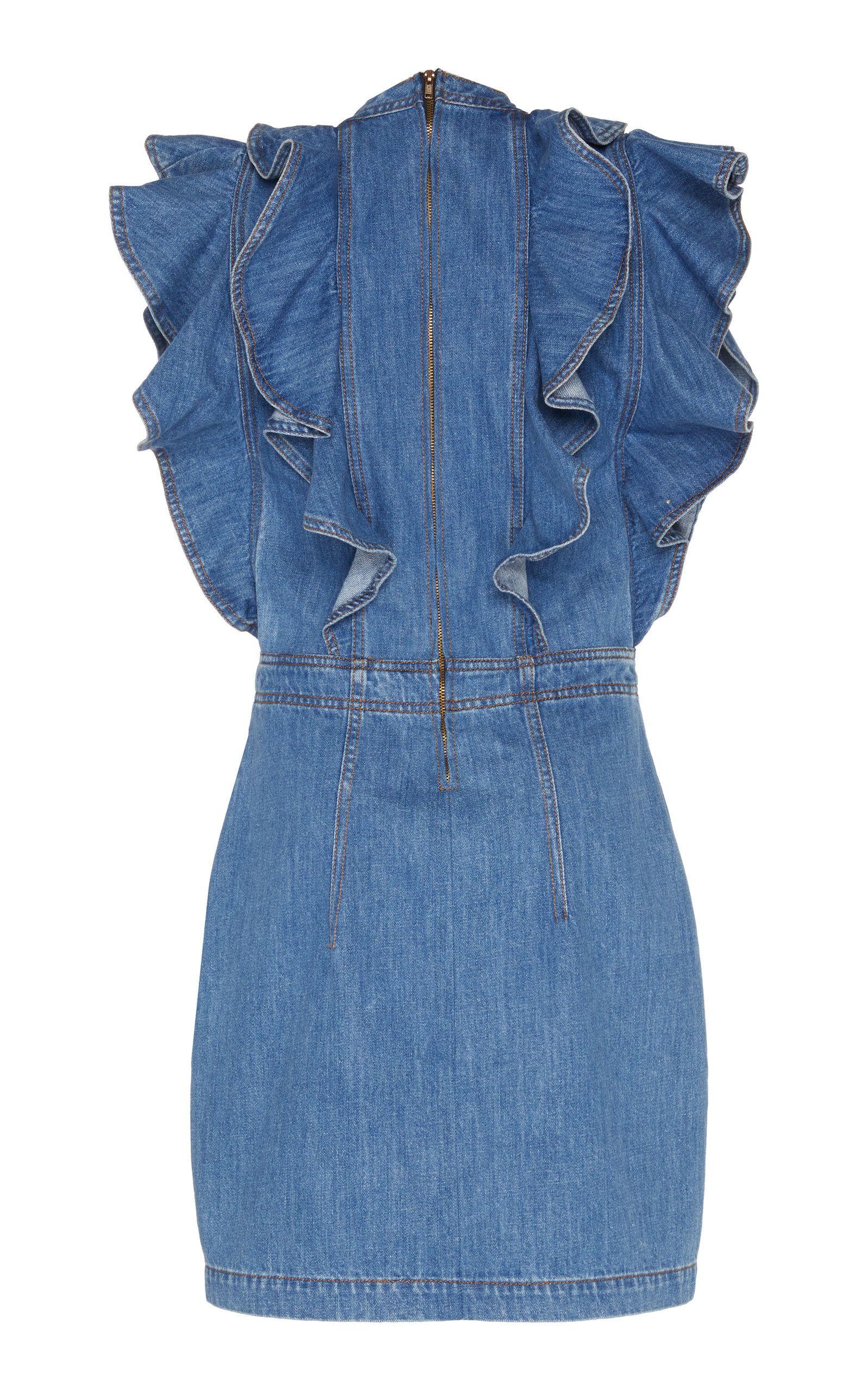 Philosophy Di Lorenzo Serafini Ruffled Denim Mini Dress Denim Mini Dress Fashion Mini Dress [ 2560 x 1598 Pixel ]