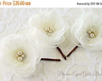 ON SALE Ivory Bridal Flower Hair Clip Duo by browneyedgirlsboutiq