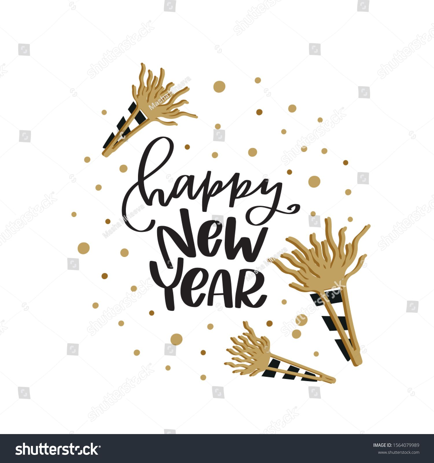Happy New Year greeting text lettering with party horn