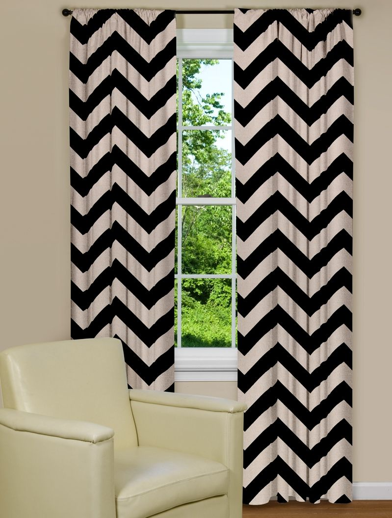Captivating Large Modern Chevron Print Curtain Panel In Black And Brown
