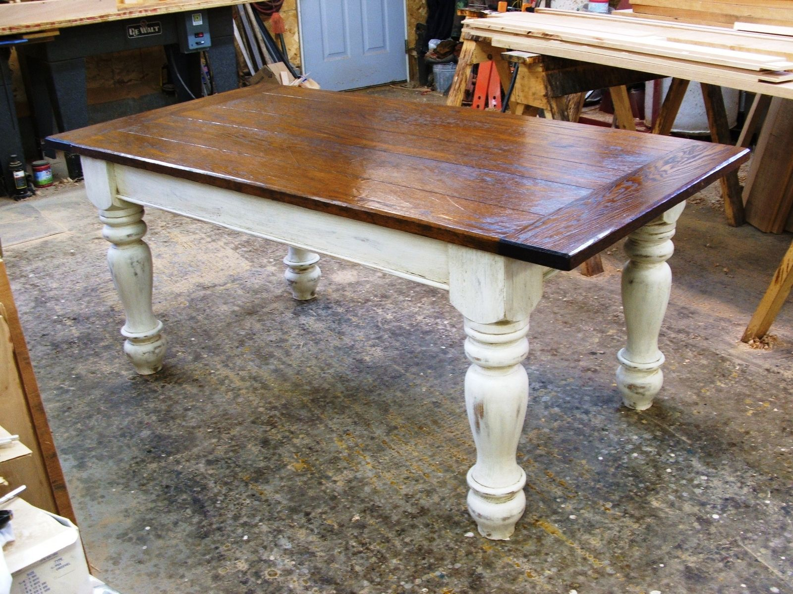 Distressed White Kitchen Table Farmers Tables For Kitchen Custom Oak Wood Farmhouse Table By