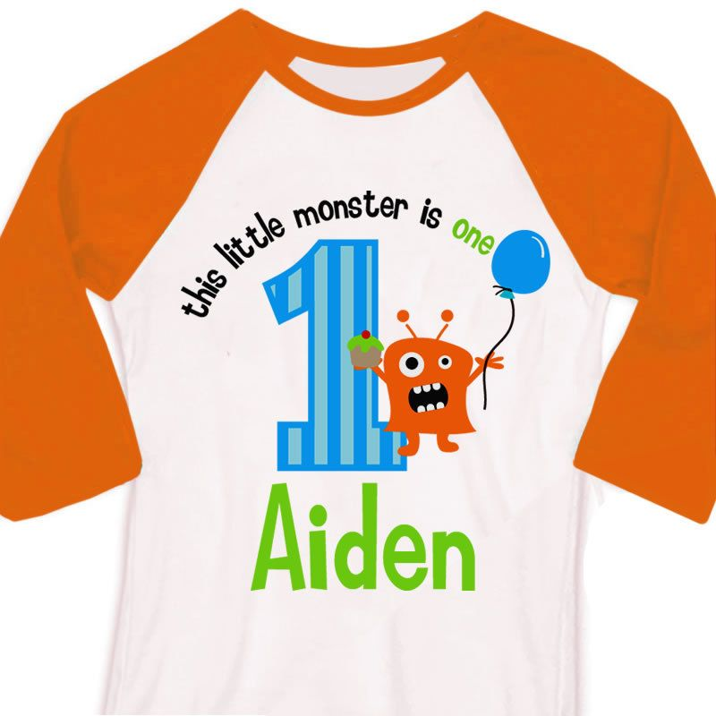 1329ba8a zoey's attic personalized gifts - First birthday shirt boy little monster  personalized raglan Tshirt, $22.50
