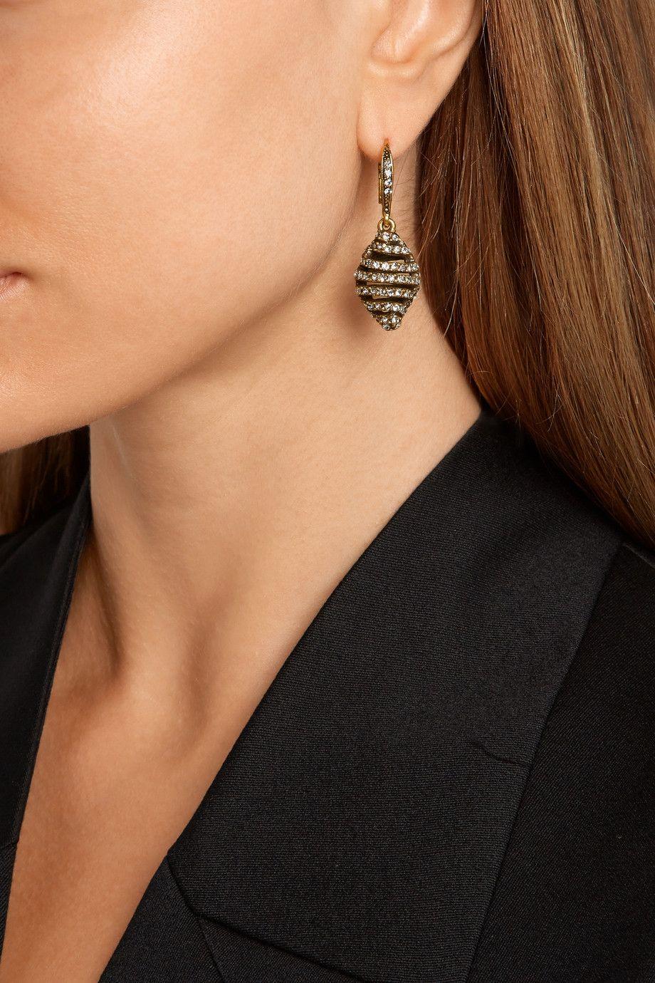 Oscar de la Renta Gold-plated crystal earrings NET-A-PORTER.COM