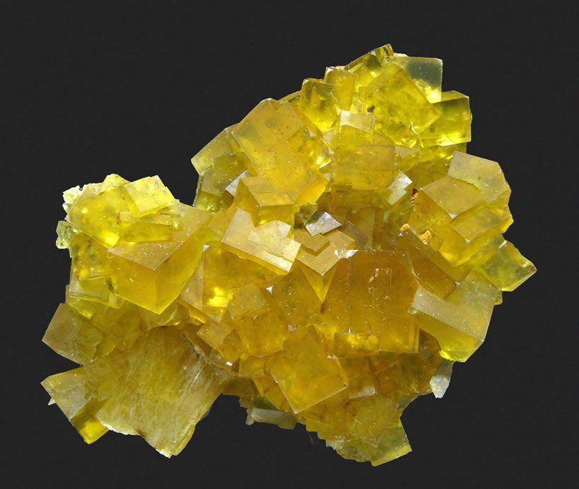 "Fluorite with Chalcopyrite, Pivoul, Barjac, Lozère  France (05/2007)  Specimen size: 7.2 × 5.2 × 2.4 cm = 2.8"" × 2.0"" × 0.9"""