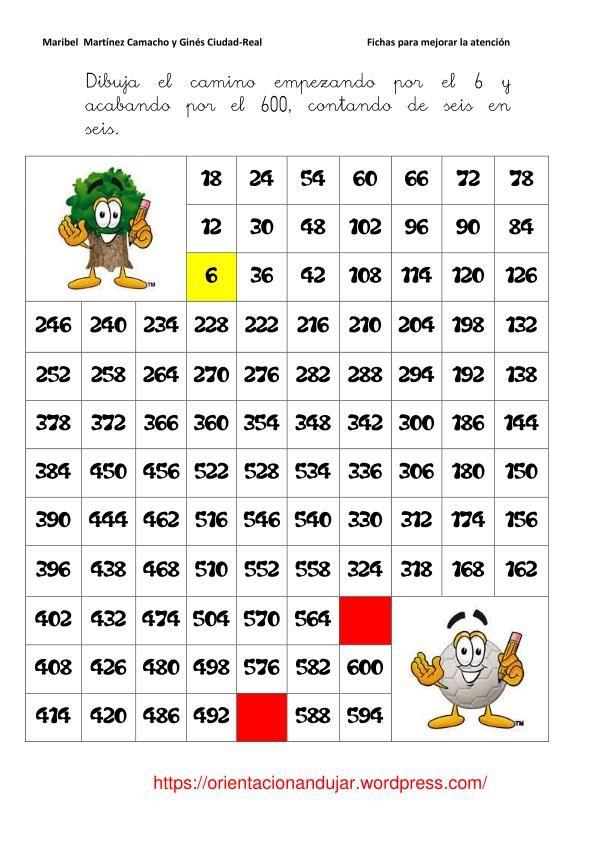 Fichas atención; laberinto contando de 6 en 6   Matematica ...