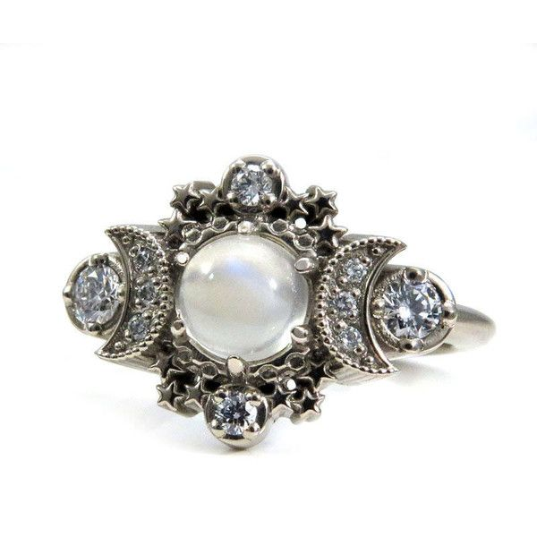 5356855a1 Moonstone and Diamond Moon and Star Engagement Ring Bohemian White...  ($1,250) ❤ liked on Polyvore featuring jewelry, rings, moonstone engagement  ring, ...