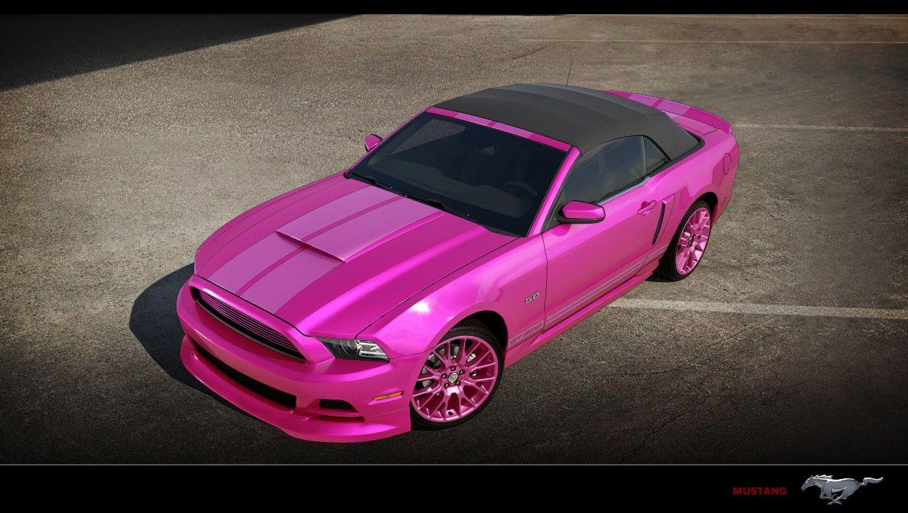 Custom pink mustang convertible