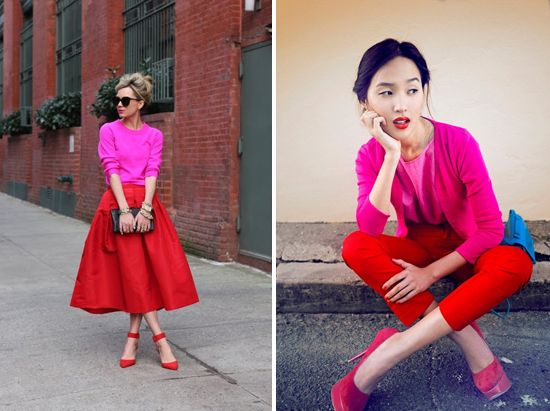 Pink and red outfits
