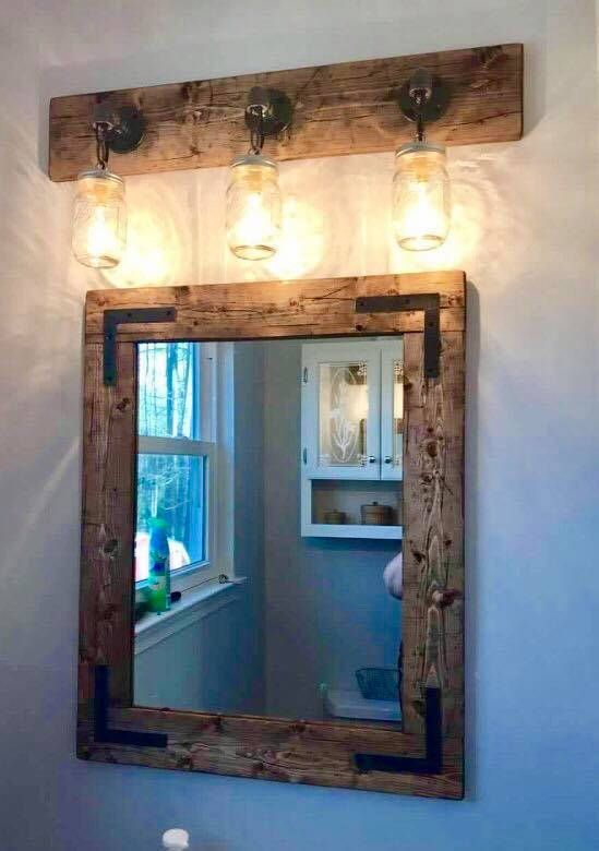 Rustic Full Bathroom Set Handmade Decor Mirror