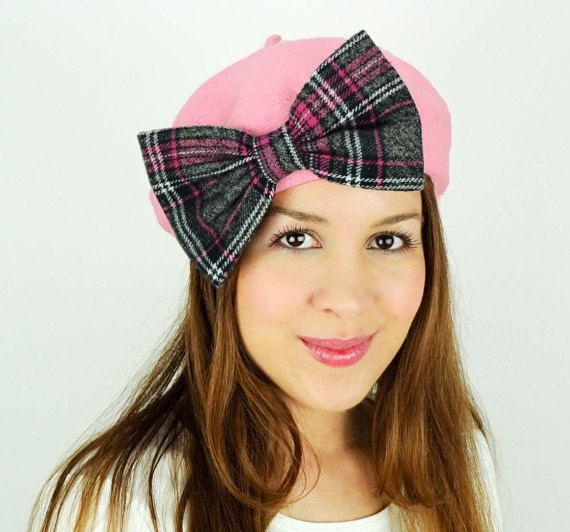 ca3f144a3e6 French Beret Hat Pink Beret Women s Winter by JuicyBows on Etsy ...