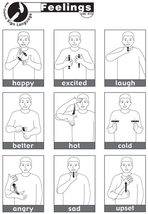 Sheet containing 13 essential NZSL signs for Feelings sign - baby sign language chart template