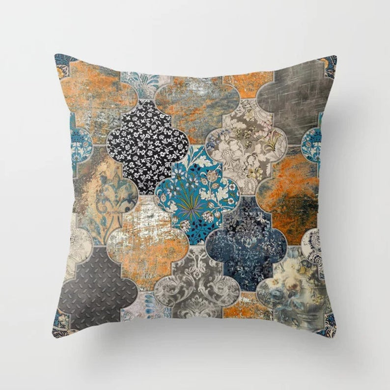 Moroccan Tiles Throw Pillow Burnt Orange Duck Egg Blue Black Etsy Throw Pillows Outdoor Pillow Covers Pillows Orange and blue outdoor pillows
