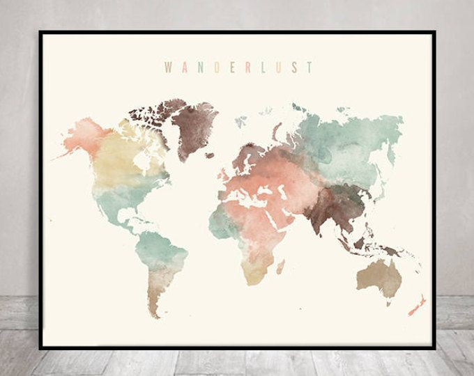 Wanderlust world map watercolor print pastel world map poster wanderlust world map watercolor print pastel world map poster travel map large map gift typography art home decor artprintsvicky deco pinterest gumiabroncs Image collections
