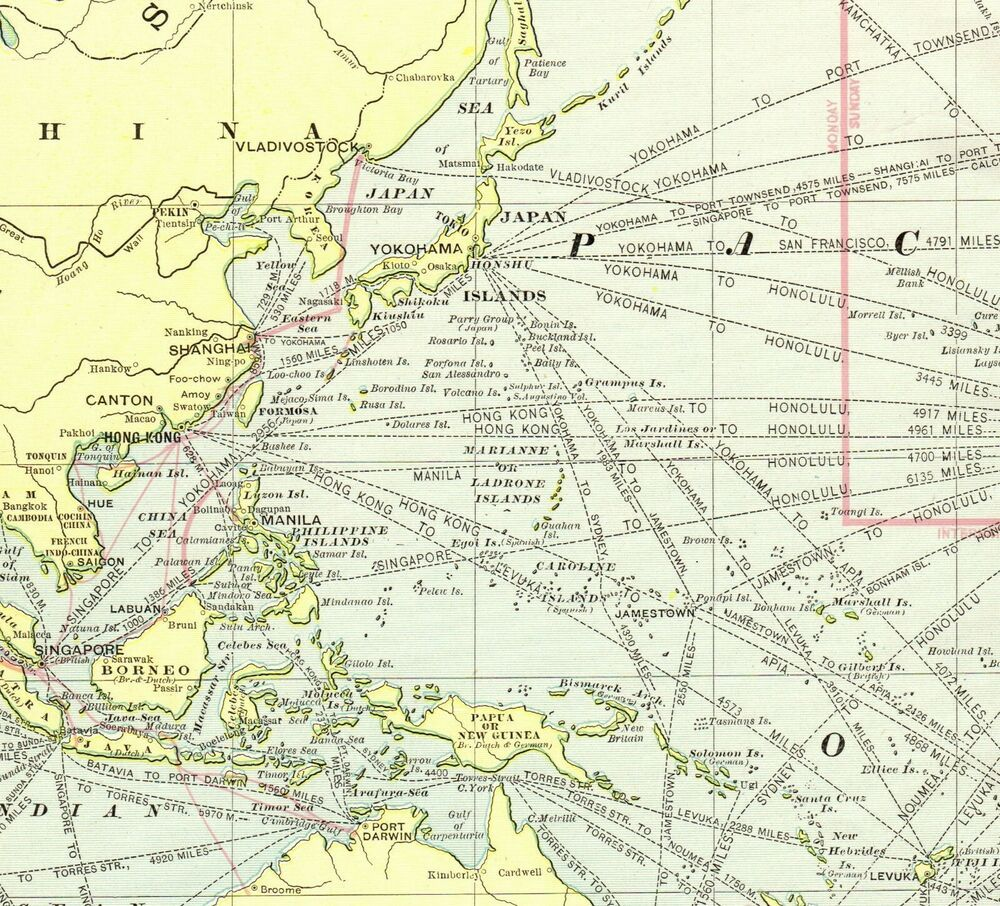 1902 Antique Pacific Ocean Map Hawaii Australia Japan United States - Pacific-ocean-on-us-map