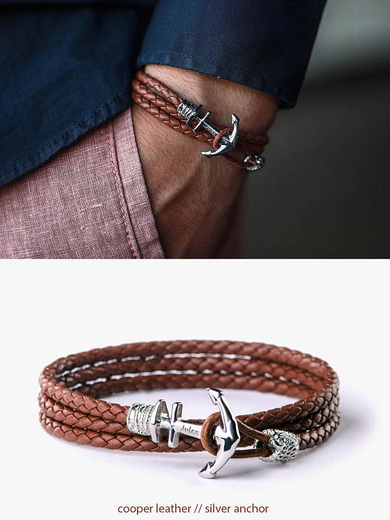 Anchor Bracelet Mens Leather Homme Man Ancre Woman Anker Armband Featuring Etsy